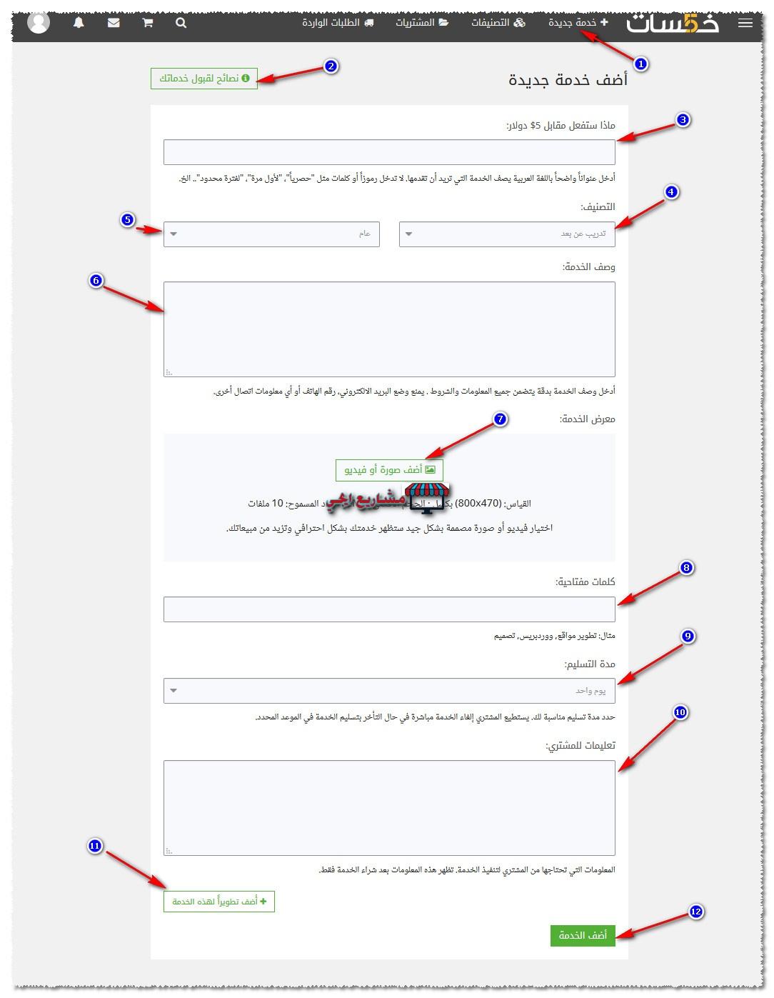 كيفية اضافة خدمة على موقع خمسات
